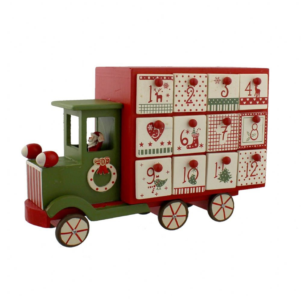 Nordic Style Wooden Advent Calender with drawers - Red & Green Christmas Santa Truck Countdown To Christmas